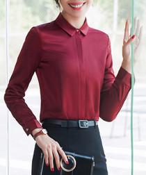 Wine long sleeve blouse