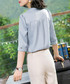 Blue 3/4 sleeve blouse Sale - withyou Sale