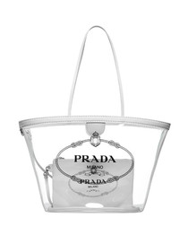 Clear PVC & leather emblem shopper bag