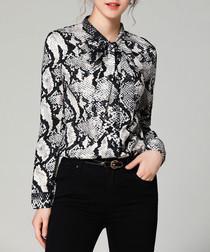 Grey snake-effect long sleeve shirt