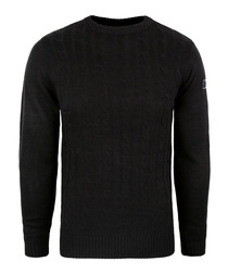 Black cable knit crew jumper