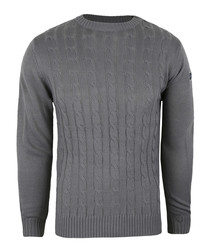 Grey cable knit crew jumper