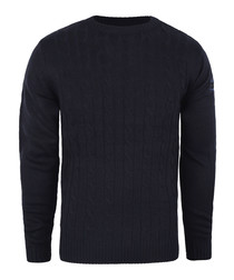 Navy cable knit crew jumper