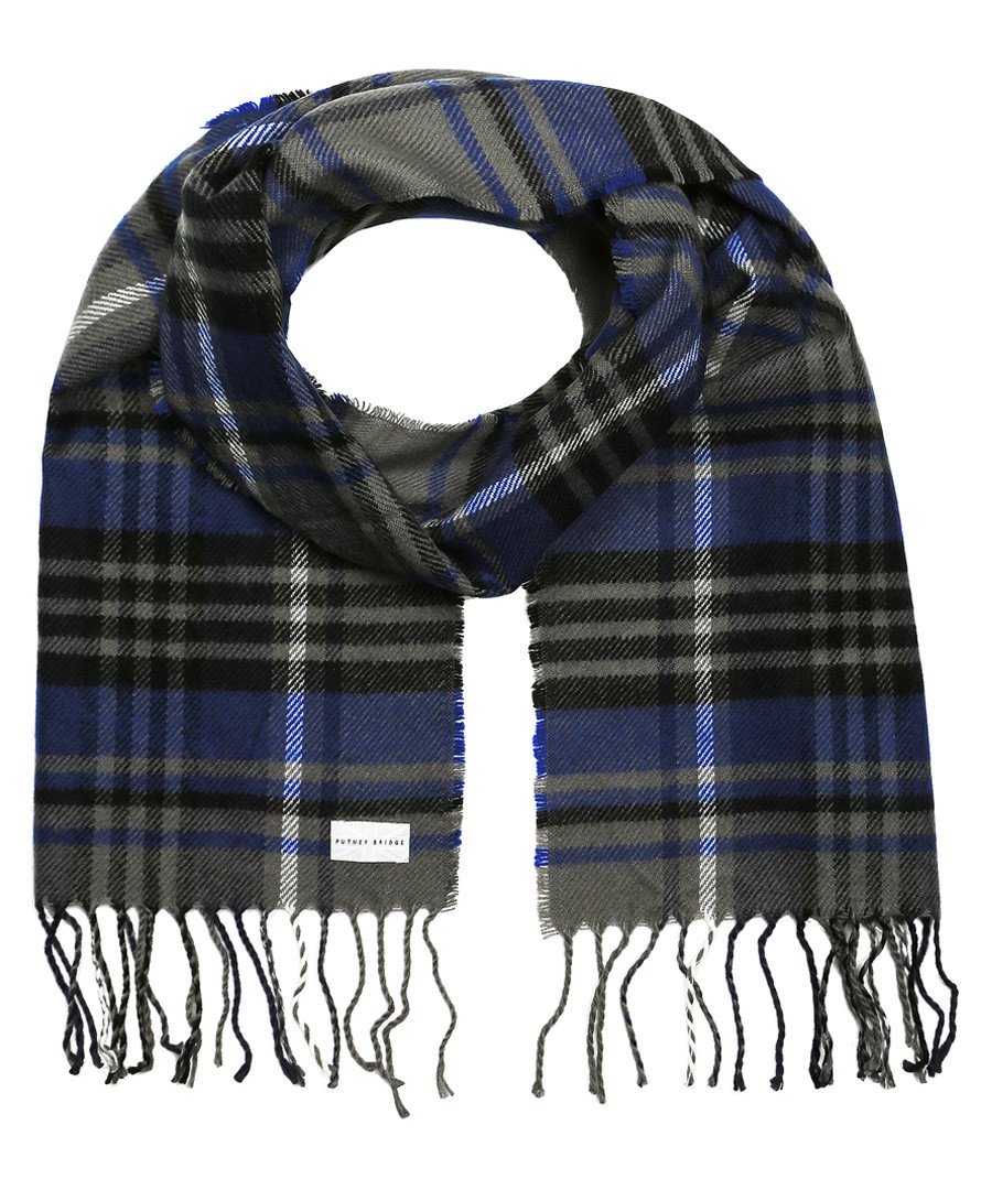 Blue & grey check scarf Sale - putney bridge