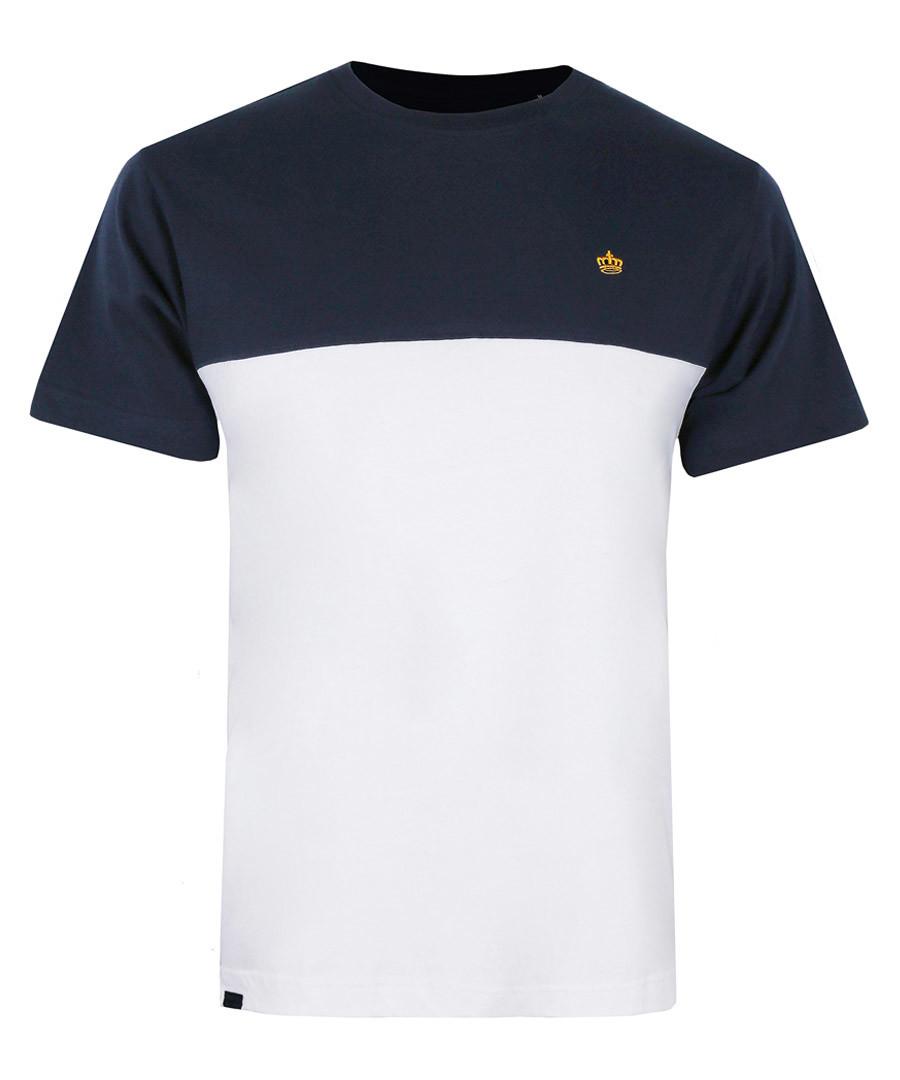 Navy & white pure cotton T-shirt Sale - putney bridge