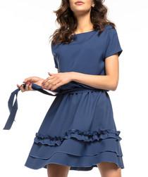navy waist-tie mini dress