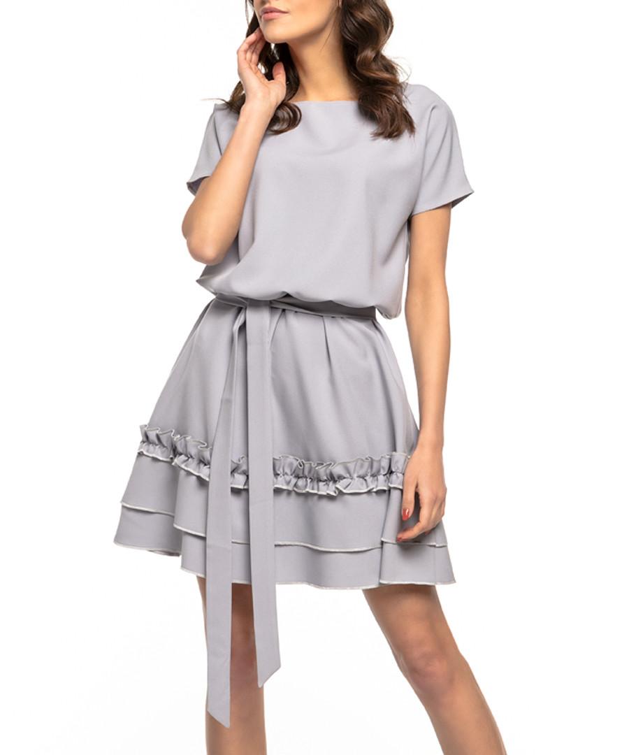 grey waist-tie mini dress Sale - tessita