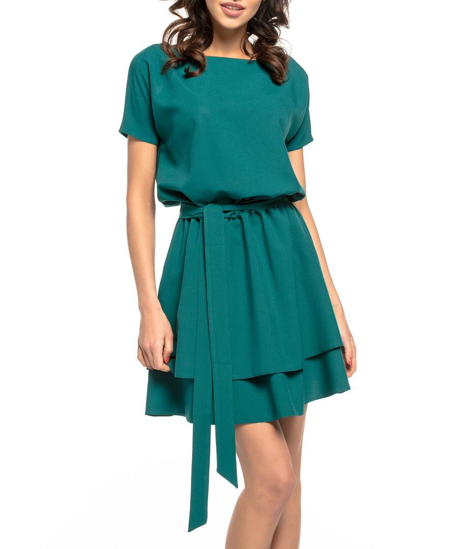 teal waist-tie mini dress Sale - tessita
