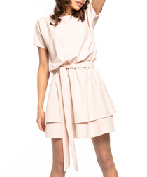 pale pink waist-tie mini dress