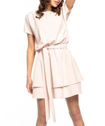 pale pink waist-tie mini dress