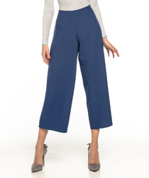 navy wide-leg cropped trousers