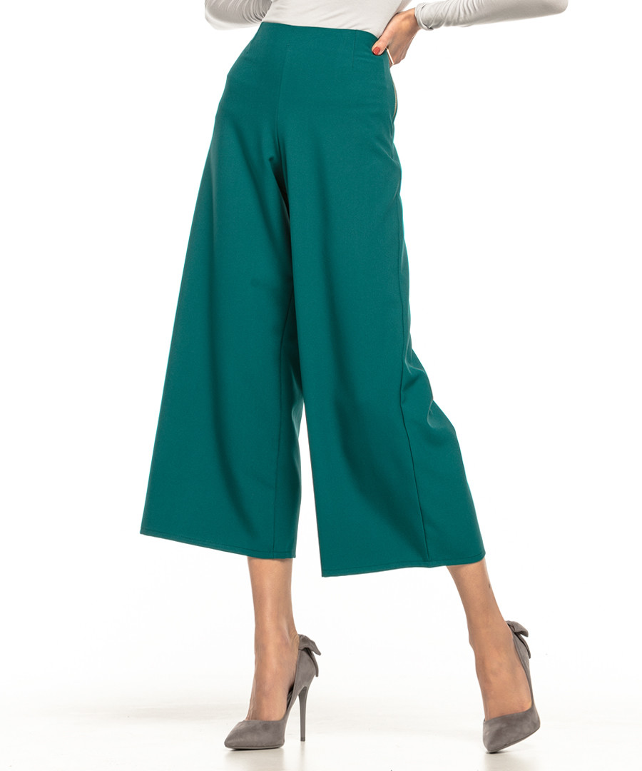 teal wide-leg cropped trousers Sale - tessita