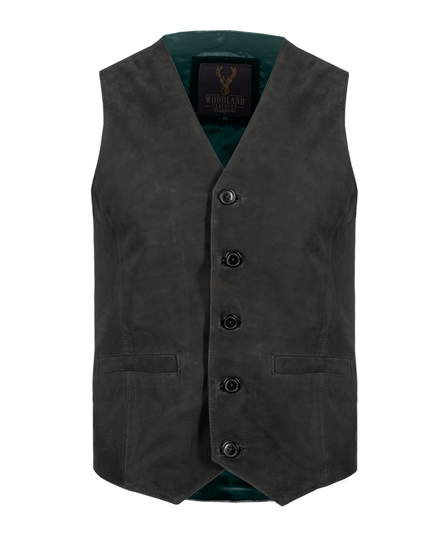 charcoal & teal sheepskin waistcoat Sale - woodland leather