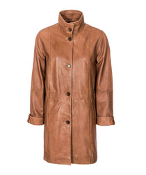 tan sheepskin high neck trenchcoat