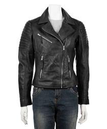 women's sheepskin lapel biker jacket