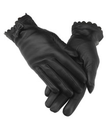 women's black leather bow gloves