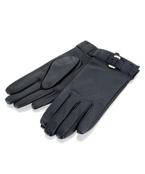 women's navy leather buckle gloves