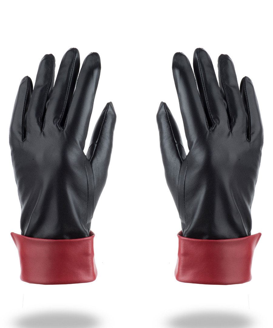 women's black & red leather gloves Sale - woodland leather