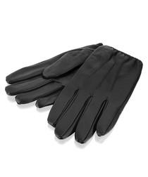 men's black leather driving gloves
