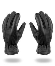 men's black leather stitch gloves