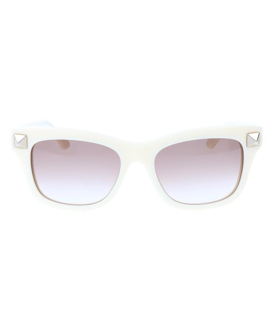 Rockstud white D-frame sunglasses Sale - valentino