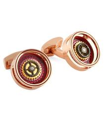 Gear Bullseye metal & enamel cufflinks