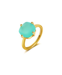 chalcedony gold-plated sterling ring