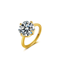 crystal gold-plated sterling silver ring