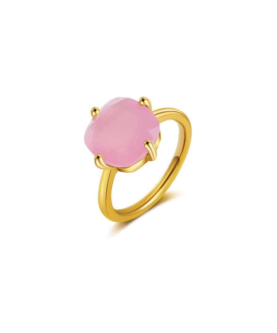 chalcedony gold-plated sterling ring Sale - ailoria