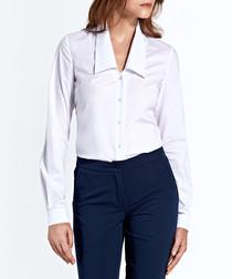 white cotton blend collar blouse