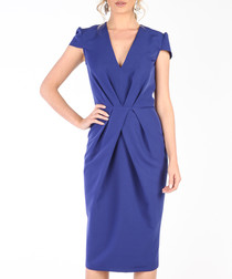 Royal blue structured midi dress