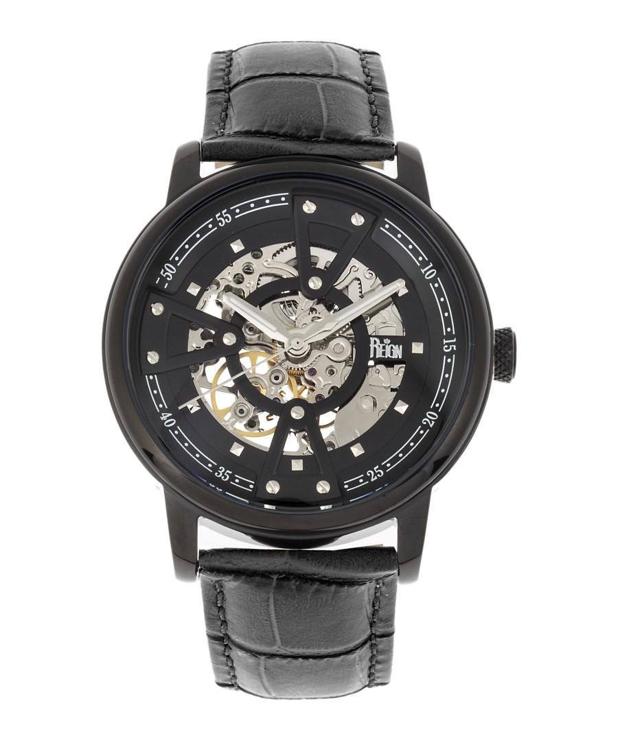 Belfour blackout leather & steel watch Sale - reign