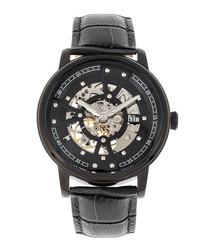 Belfour blackout leather & steel watch