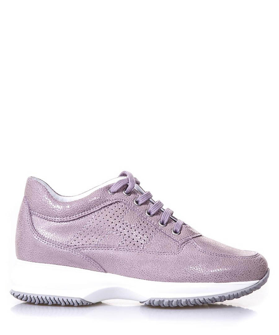 Interactive lilac leather sneakers Sale - hogan