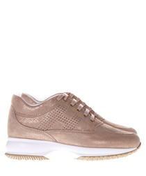 Interactive dusty pink leather sneakers
