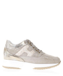 Interactive beige leather sneakers