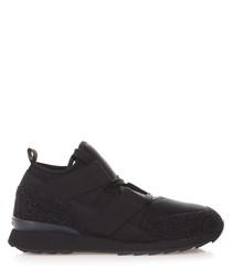 black fabric strap sneakers
