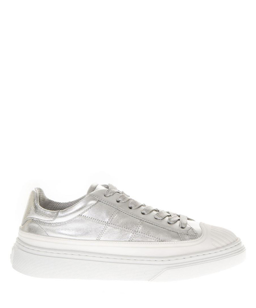 Lowtop metallic leather sneakers Sale - hogan