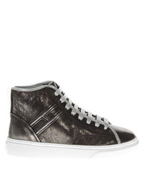 H365 gunmetal leather sneakers