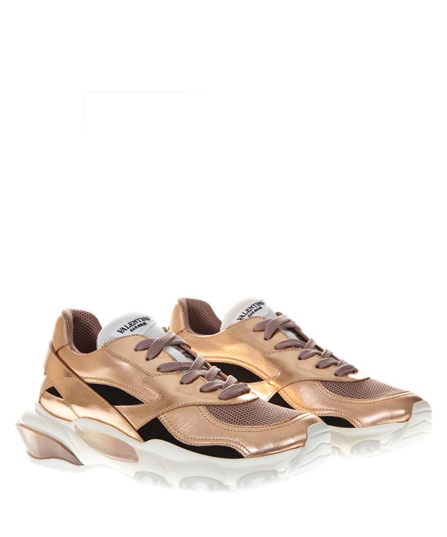 bounce gold-tone leather mix sneakers Sale - valentino garavani