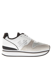 white crest sneakers