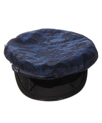 Disco punk blue & black peak hat