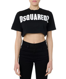 black pure cotton cropped logo T-shirt