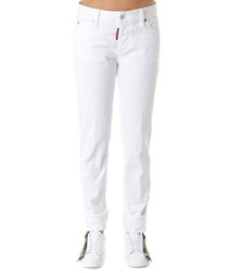dennis white cotton slim jeans