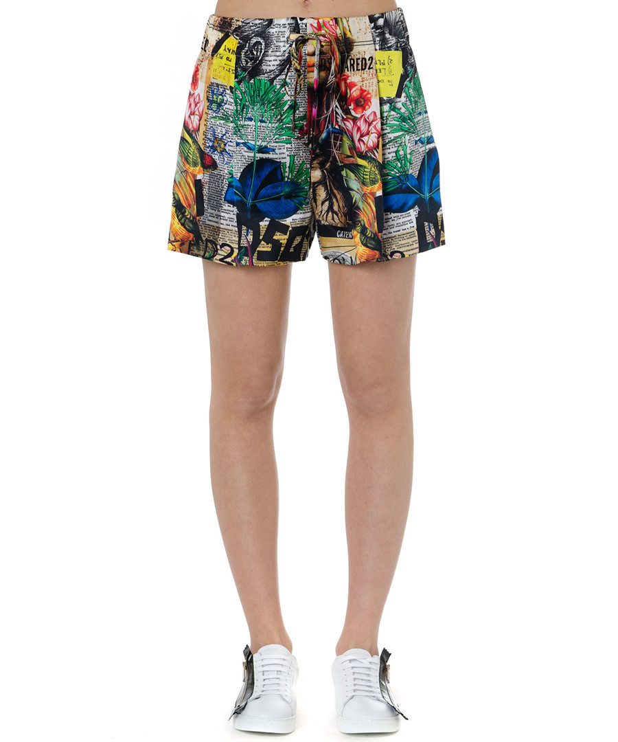 news collage pure silk shorts Sale - dsquared2