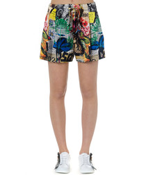 news collage pure silk shorts