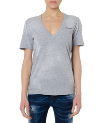 grey cotton blend V-neck T-shirt