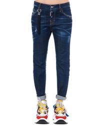 cool girl dark blue cotton jeans