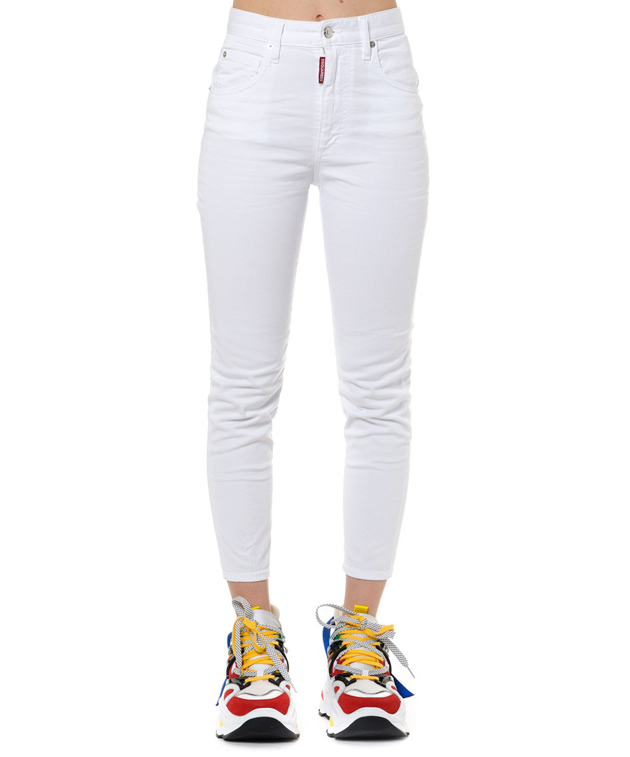 white cotton skinny cropped jeans Sale - dsquared2