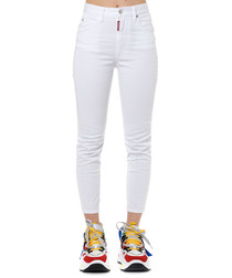 white cotton skinny cropped jeans